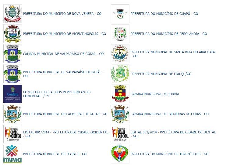Concursos já realizados pelo Instituto Cidades
